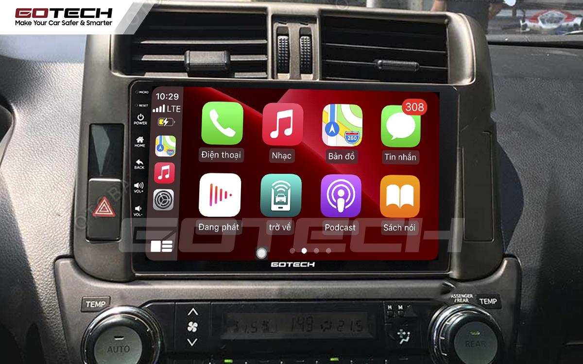 Kết nối Apple Carplay thông minh trên màn hình ô tô thông minh GOTECH cho xe Toyota Prado 2010-2013