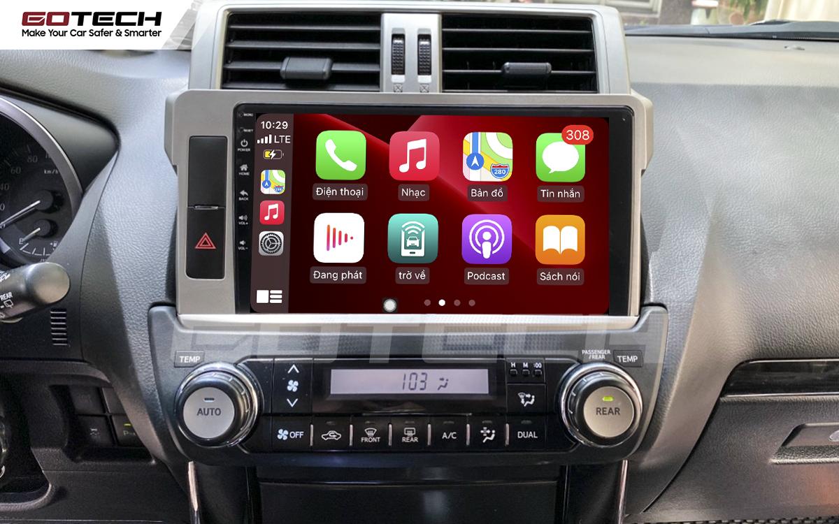 Kết nối Apple Carplay thông minh trên màn hình ô tô thông minh GOTECH cho xe Toyota Prado 2014-2016