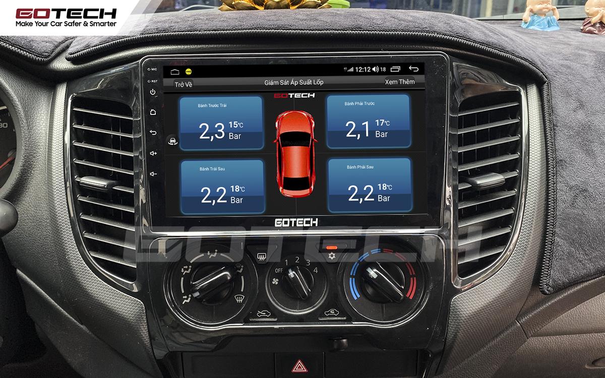 Kết nối cảm biến áp suất lốp trên màn hình ô tô GOTECH cho xe Mitsubishi Triton 2015-2018.
