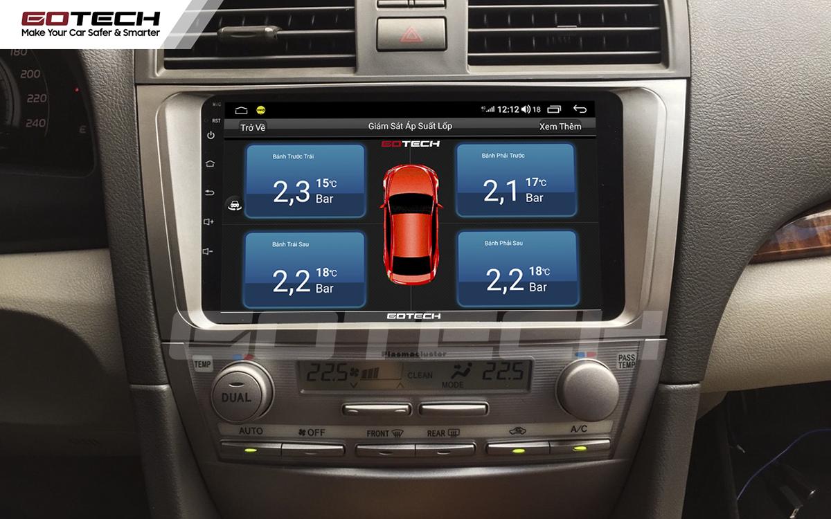 Kết nối cảm biến áp suất lốp trên màn hình ô tô thông minh GOTECH cho xe Toyota Camry 2007-2012