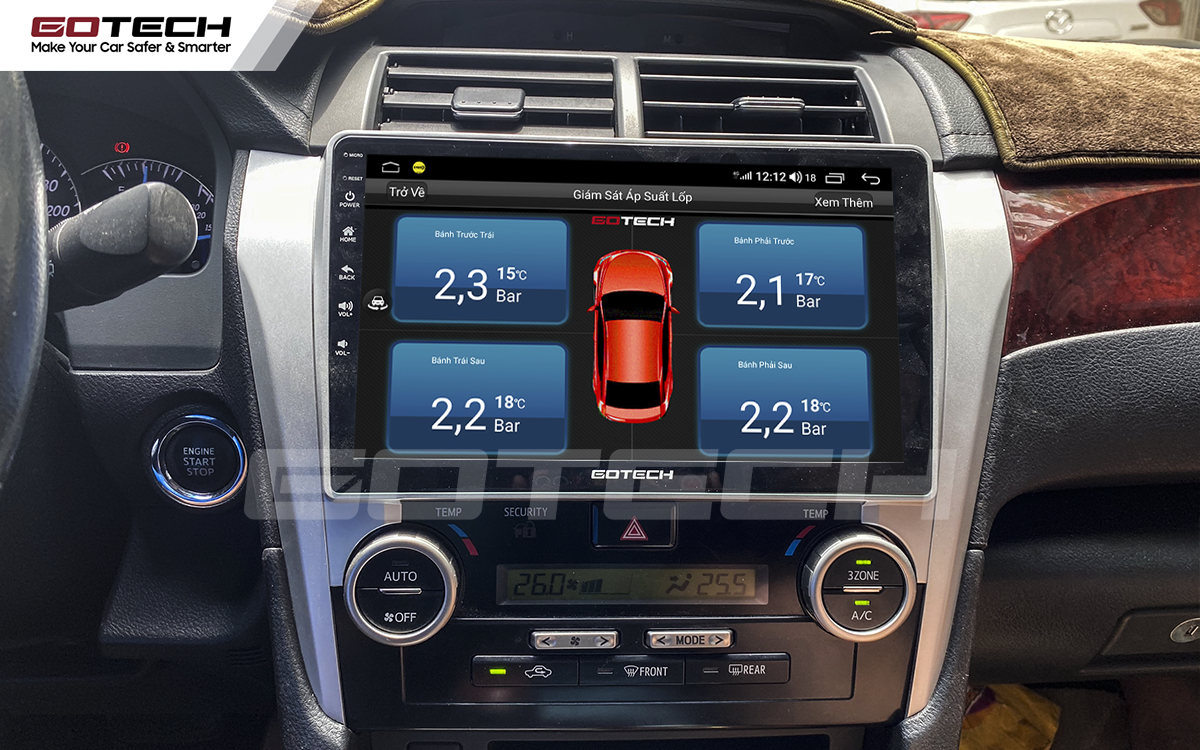 Kết nối cảm biến áp suất lốp trên màn hình ô tô thông minh GOTECH cho xe Toyota Camry 2013-2014