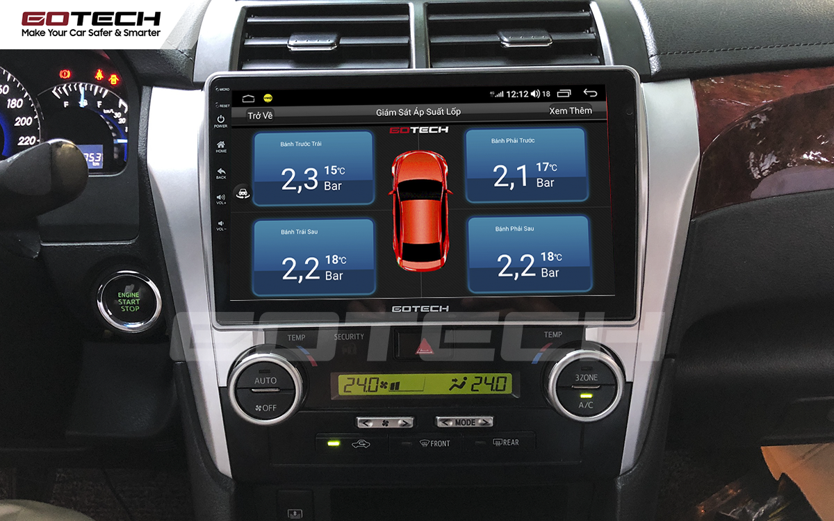 Kết nối cảm biến áp suất lốp trên màn hình ô tô thông minh GOTECH cho xe Toyota Camry 2015-2018