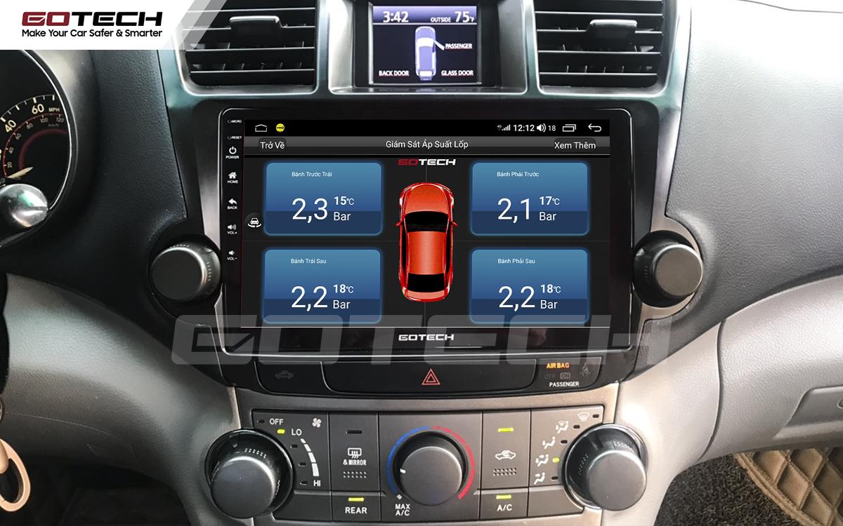 Kết nối cảm biến áp suất lốp trên màn hình ô tô thông minh GOTECH cho xe Toyota Highlander 2009-2013
