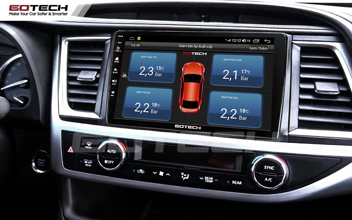 Kết nối cảm biến áp suất lốp trên màn hình ô tô thông minh GOTECH cho xe Toyota Highlander 2015-2018