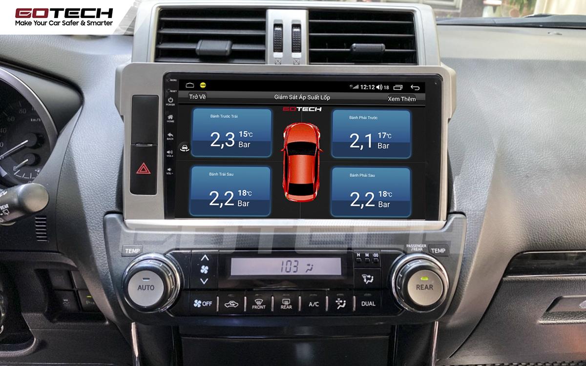 Kết nối cảm biến áp suất lốp trên màn hình ô tô thông minh GOTECH cho xe Toyota Prado 2014-2016