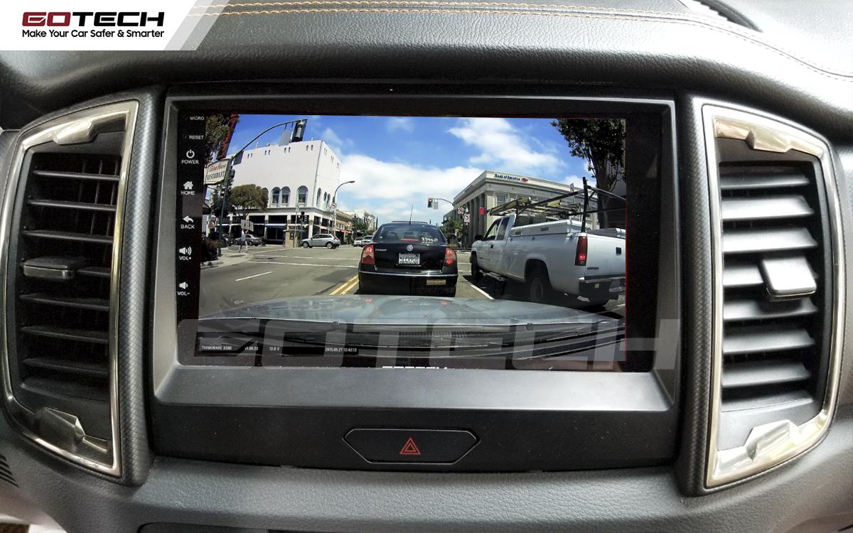 Kết nối với camera hành trình trên màn hình android GOTECH cho xe Ford Ranger Wildtrak