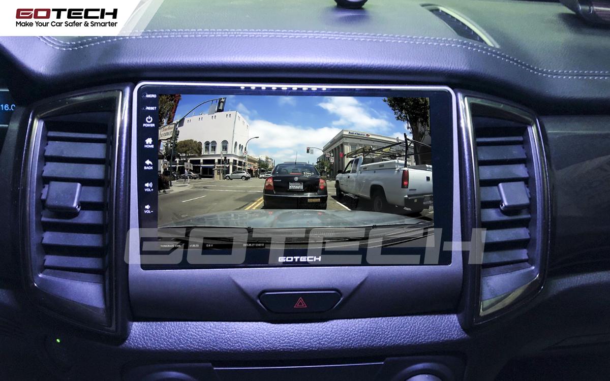 Kết nối với camera hành trình trên màn hình android GOTECH cho xe Ford Ranger XLS, XLT 2019-2020