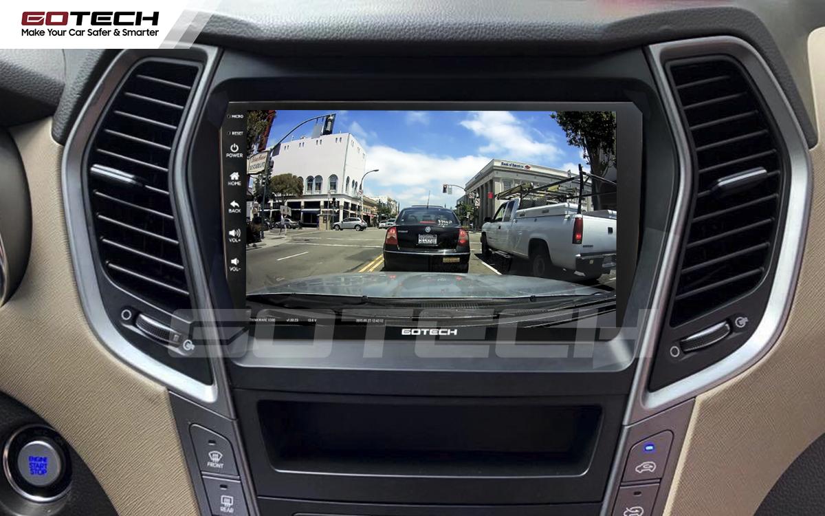 Kết nối với camera hành trình trên màn hình android GOTECH cho xe Hyundai Santafe 2013-2014