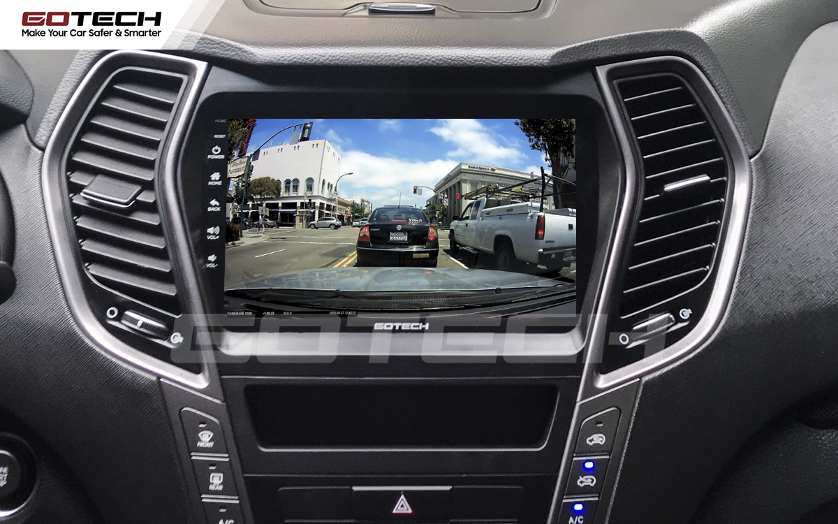 Kết nối với camera hành trình trên màn hình android GOTECH cho xe Hyundai Santafe 2015-2018