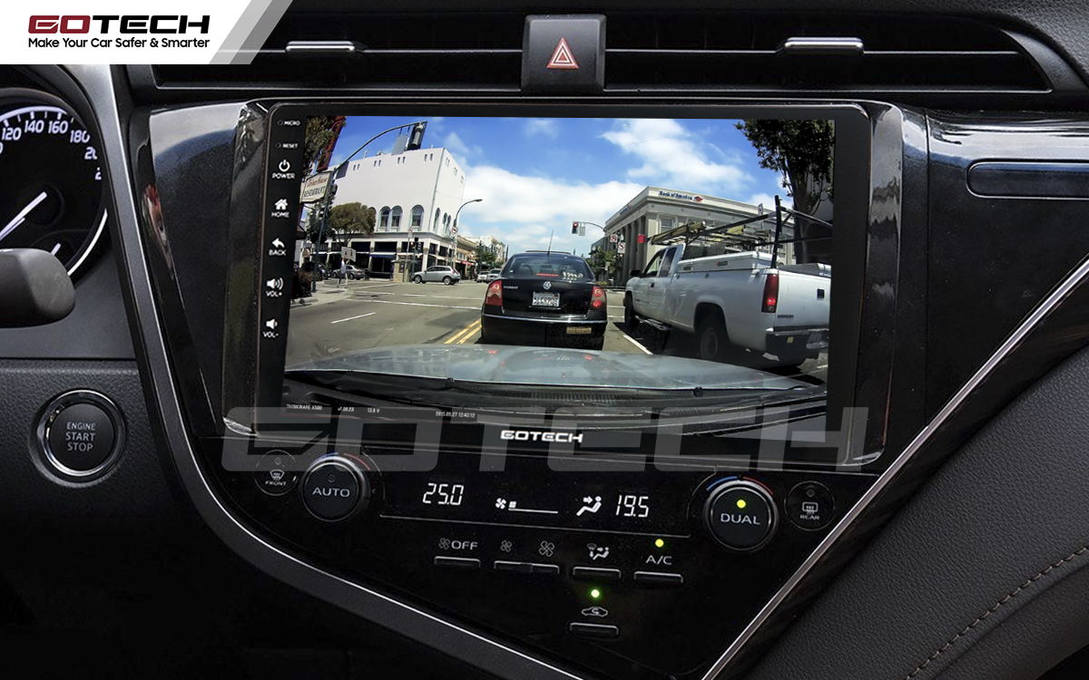 Kết nối với camera hành trình trên màn hình android GOTECH cho xe Toyota Camry 2019-2020