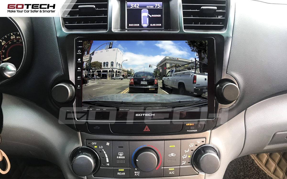 Kết nối với camera hành trình trên màn hình android GOTECH cho xe Toyota Highlander 2009-2013