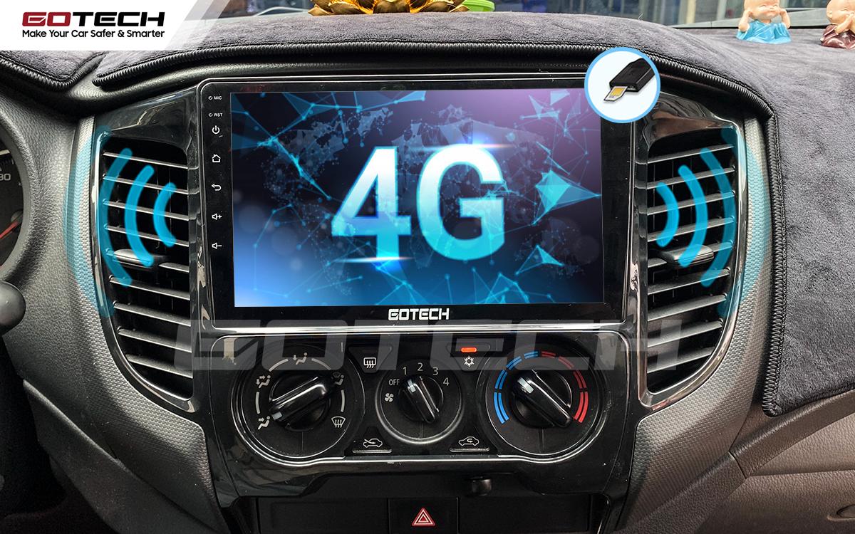 Sim 4G kết nối tốc độ cao trên màn hình Android GOTECH cho xe Mitsubishi Triton 2015-2018.