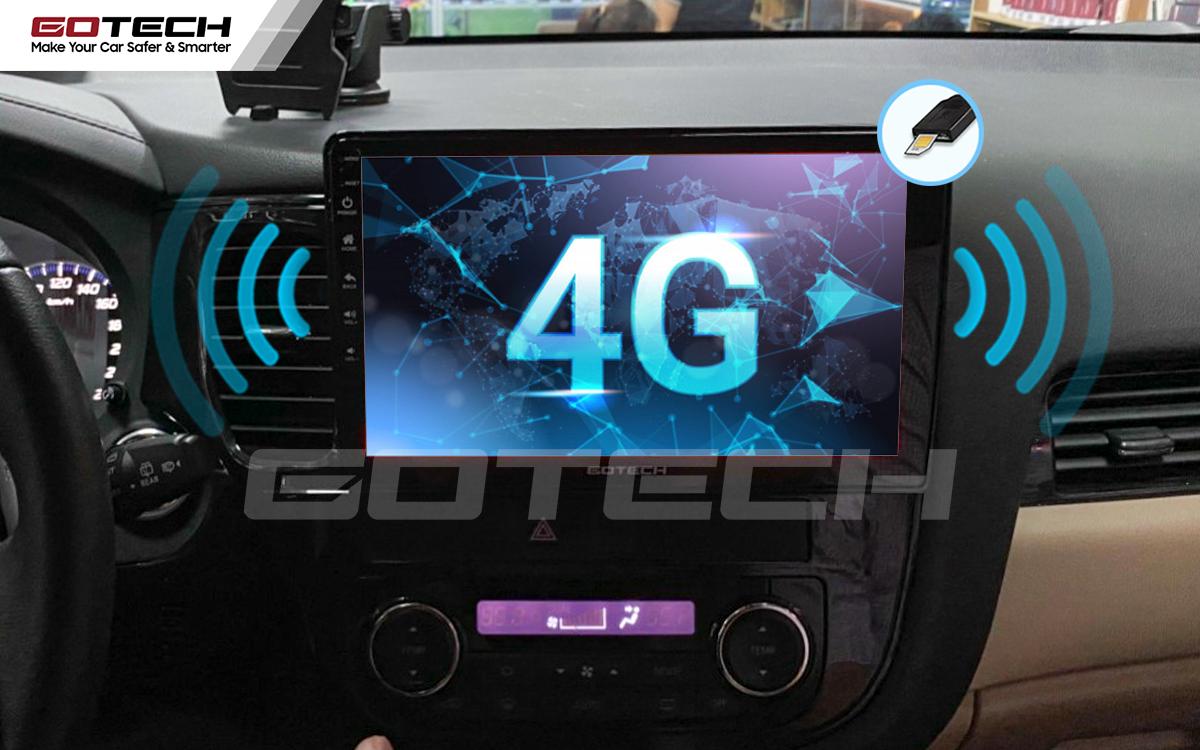 Sim 4G kết nối internet tốc độ cao trên màn hình ô tô Gotech cho xe Mitsubishi Outlander 2016-2019.