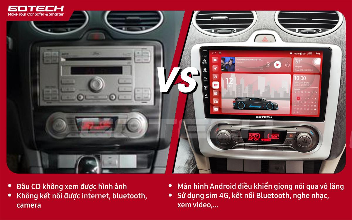 So sánh trước và sau khi lắp đặt màn hình ô tô GOTECH cho xe Ford Focus 2005-2012 điều hòa tự động