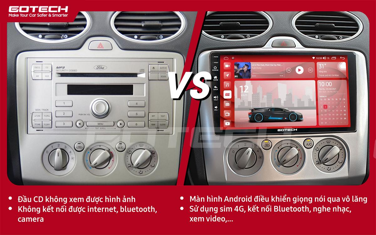 So sánh trước và sau khi lắp đặt màn hình ô tô GOTECH cho xe Ford Focus 2005-2012 điều hòa cơ