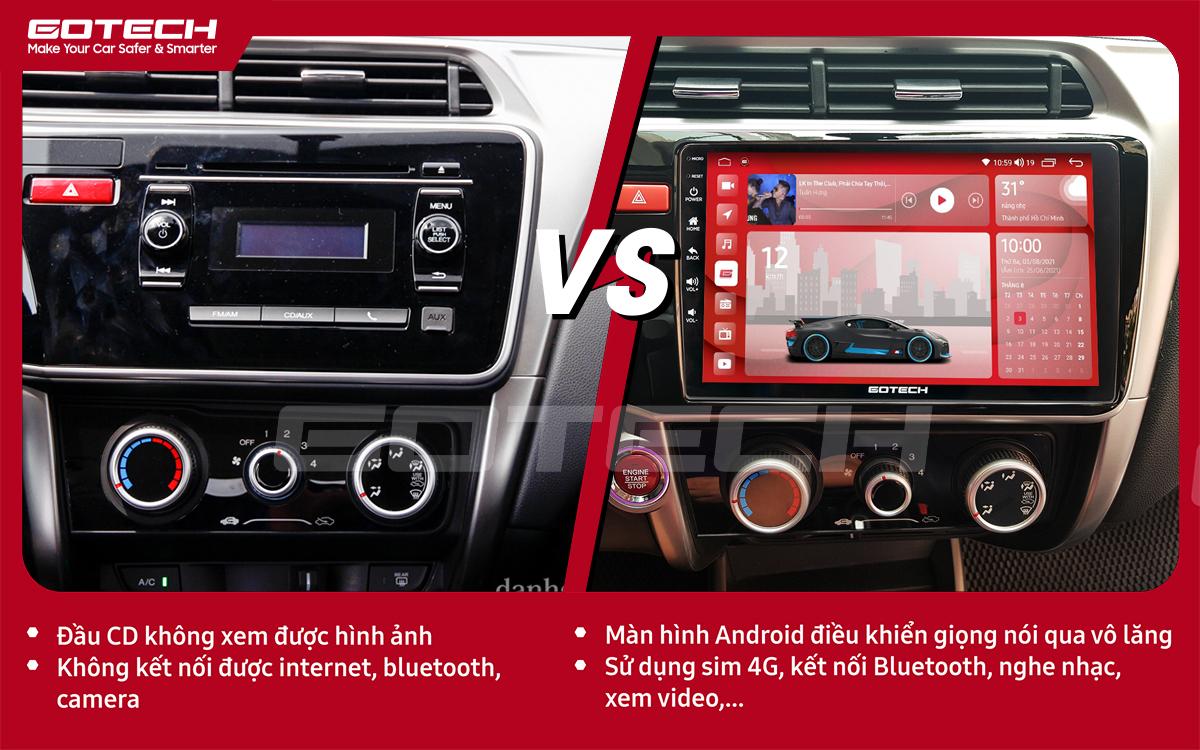 So sánh trước và sau khi lắp đặt màn hình ô tô GOTECH cho xe Honda City 2014-2020