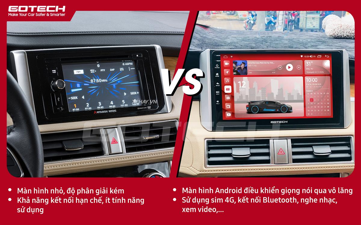 So sánh trước và sau khi lắp đặt màn hình ô tô GOTECH cho xe Mitsubishi Xpander 2018-2020