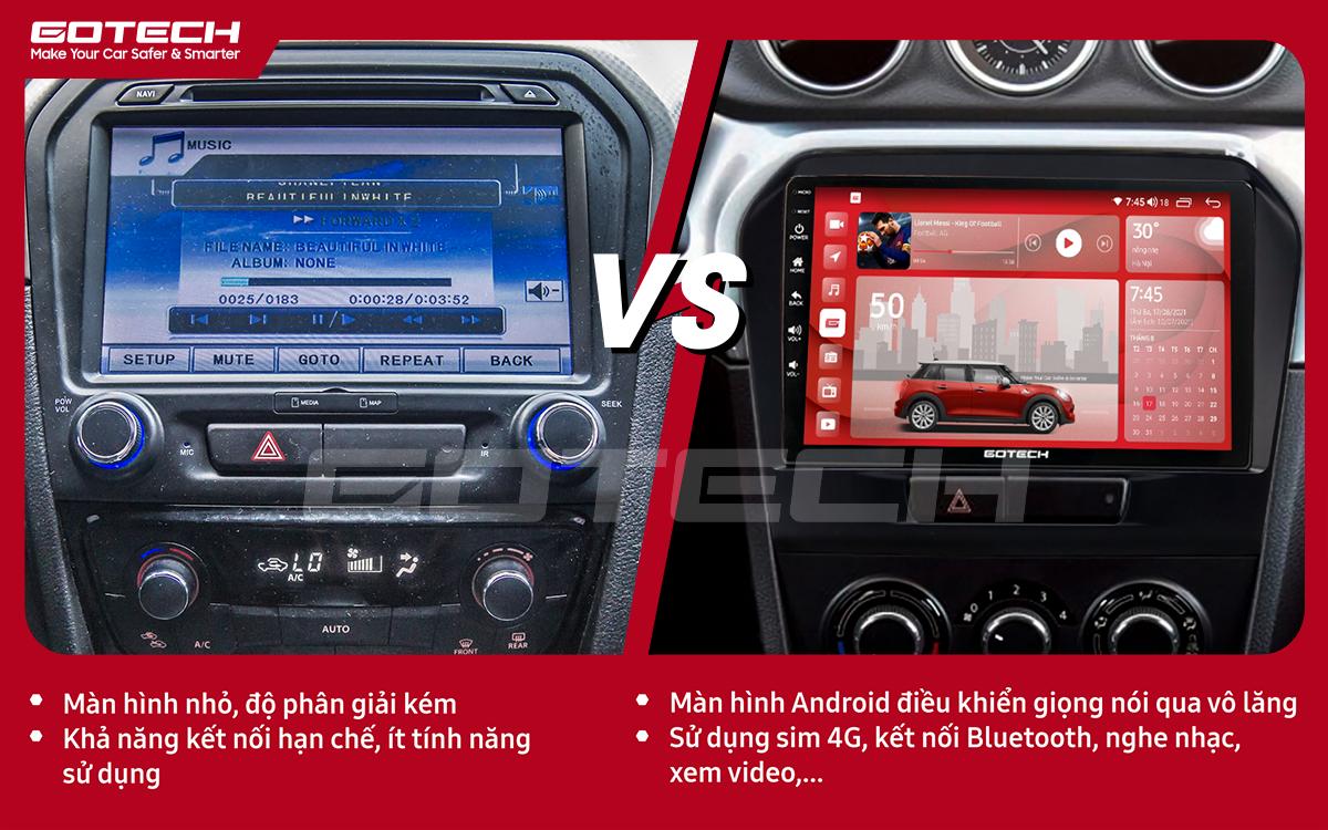 So sánh trước và sau khi lắp đặt màn hình ô tô GOTECH cho xe Suzuki Vitara 2016-2018