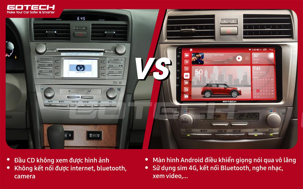 So sánh trước và sau khi lắp đặt màn hình ô tô GOTECH cho xe Toyota Camry 2007-2012