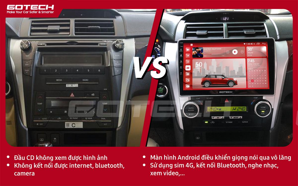 So sánh trước và sau khi lắp đặt màn hình ô tô GOTECH cho xe Toyota Camry 2015-2018