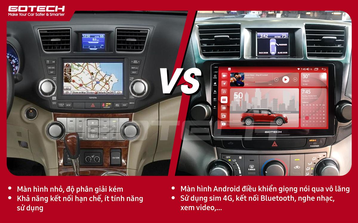 So sánh trước và sau khi lắp đặt màn hình ô tô GOTECH cho xe Toyota Highlander 2009-2013