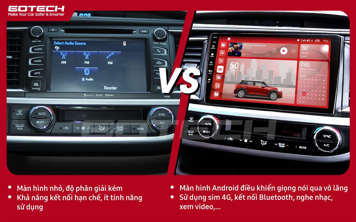 So sánh trước và sau khi lắp đặt màn hình ô tô GOTECH cho xe Toyota Highlander 2015-2018