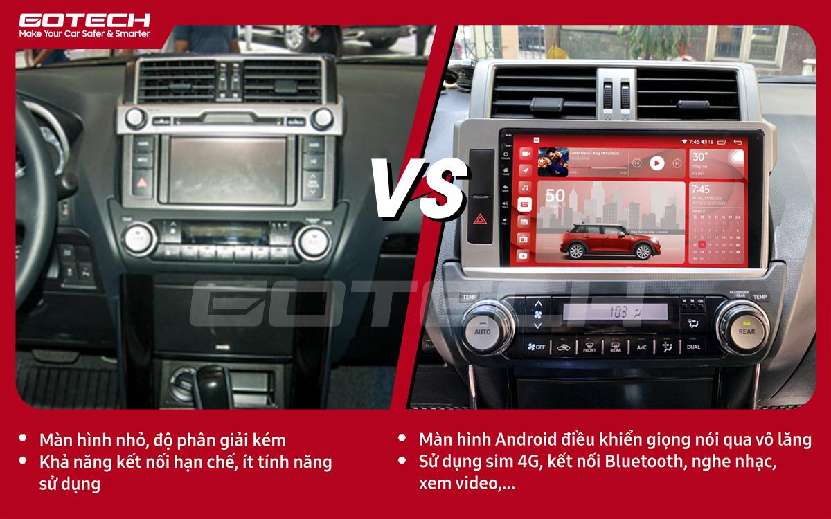 So sánh trước và sau khi lắp đặt màn hình ô tô GOTECH cho xe Toyota Prado 2014-2016