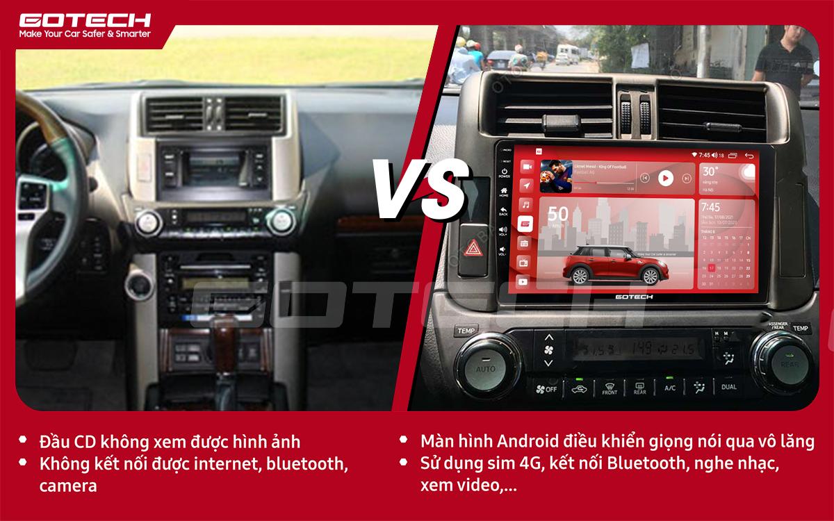 So sánh trước và sau khi lắp đặt màn hình ô tô GOTECH cho xe Toyota Prado 2010-2013