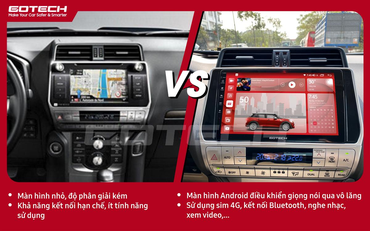 So sánh trước và sau khi lắp đặt màn hình ô tô GOTECH cho xe Toyota Prado 2017-2020