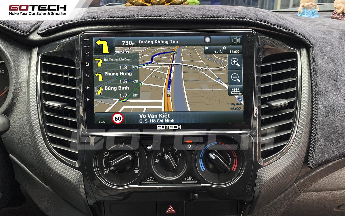 Phần mềm dẫn đường Vietmap thông minh trên màn hình Android GOTECH cho xe Mitsubishi Triton 2015-2018.