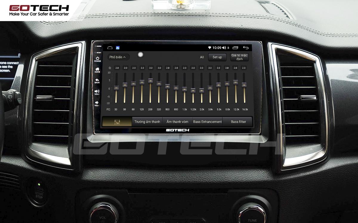Bộ xử lý tín hiệu âm thanh DSP 32 kênh trên màn hình GOTECH cho xe Ford Everest 2017-2018