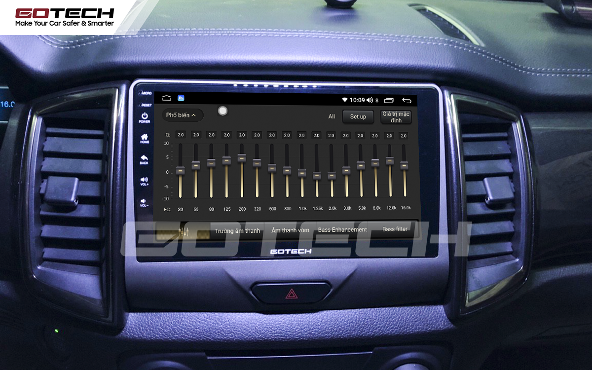 Bộ xử lý tín hiệu âm thanh DSP 32 kênh trên màn hình GOTECH cho xe Ford Everest 2019-2020