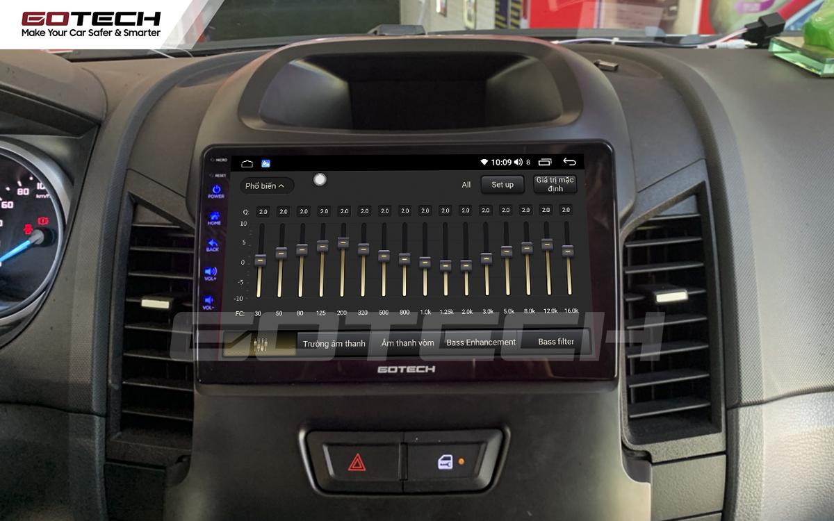 Bộ xử lý tín hiệu âm thanh DSP 32 kênh trên màn hình GOTECH cho xe Ford Ranger 2013-2018