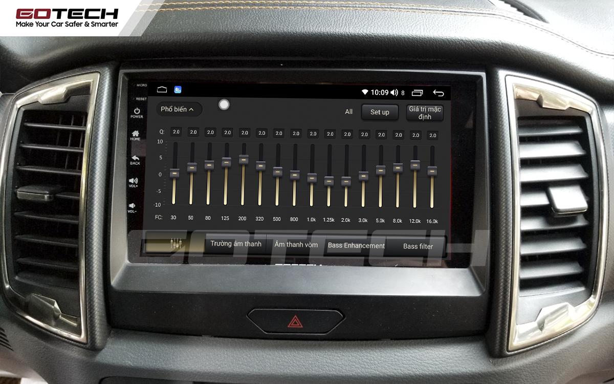 Bộ xử lý tín hiệu âm thanh DSP 32 kênh trên màn hình GOTECH cho xe Ford Ranger Wildtrak