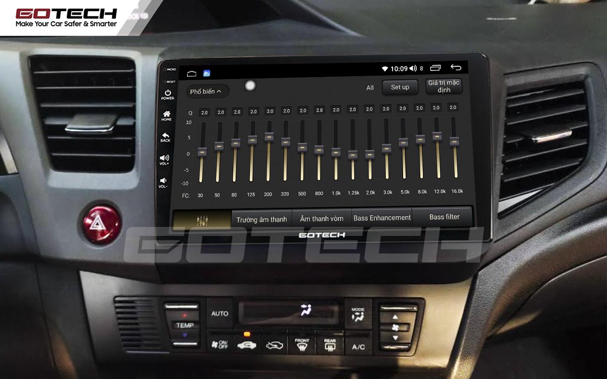 Bộ xử lý tín hiệu âm thanh DSP 32 kênh trên màn hình GOTECH cho xe Honda Civic 2013-2015