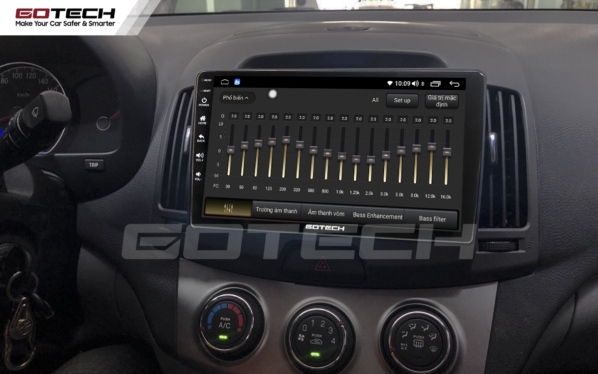 Bộ xử lý tín hiệu âm thanh DSP 32 kênh trên màn hình GOTECH cho xe Hyundai Avante 2008-2016