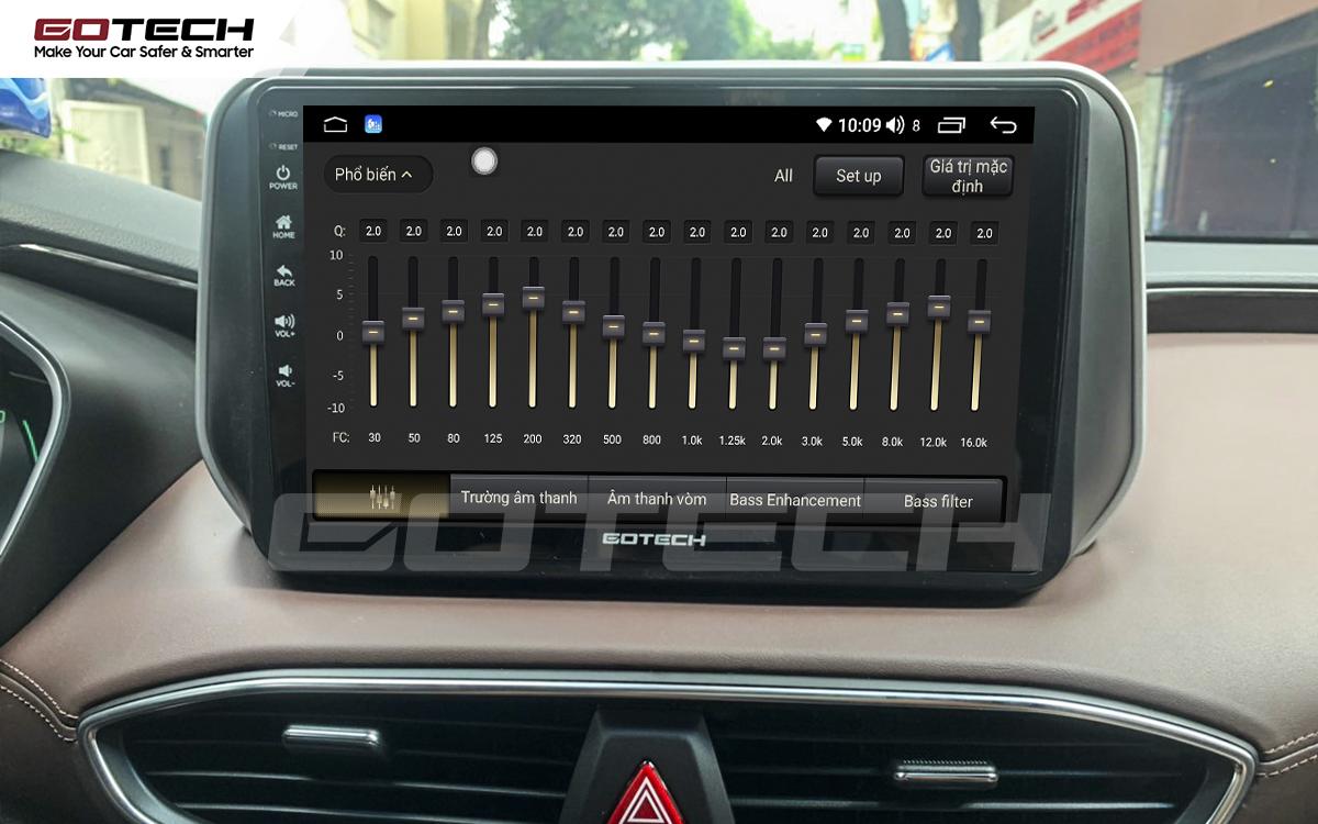 Bộ xử lý tín hiệu âm thanh DSP 32 kênh trên màn hình GOTECH cho xe Hyundai Santafe 2019-2020