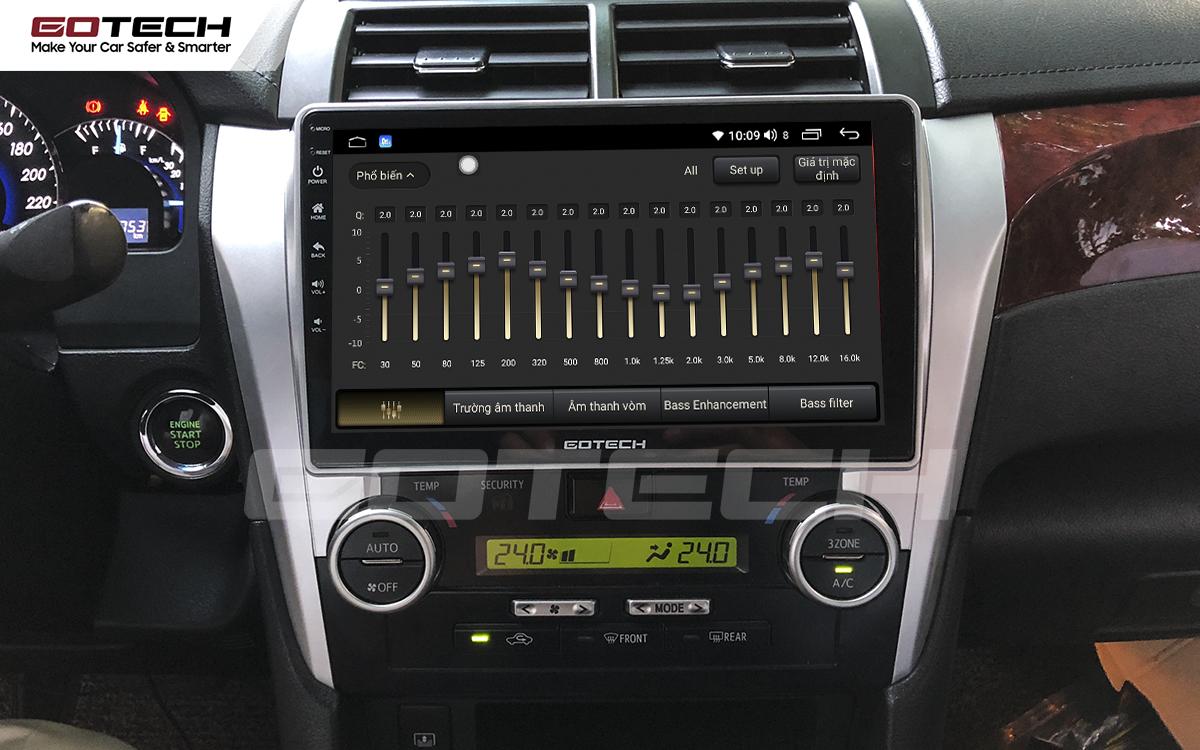 Bộ xử lý tín hiệu âm thanh DSP 32 kênh trên màn hình GOTECH cho xe Toyota Camry 2015-2018