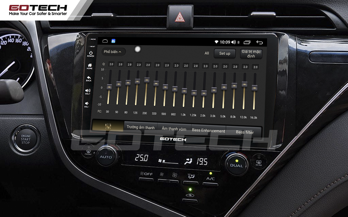 Bộ xử lý tín hiệu âm thanh DSP 32 kênh trên màn hình GOTECH cho xe Toyota Camry 2019-2020