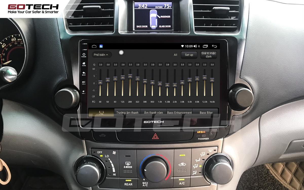 Bộ xử lý tín hiệu âm thanh DSP 32 kênh trên màn hình GOTECH cho xe Toyota Highlander 2009-2013