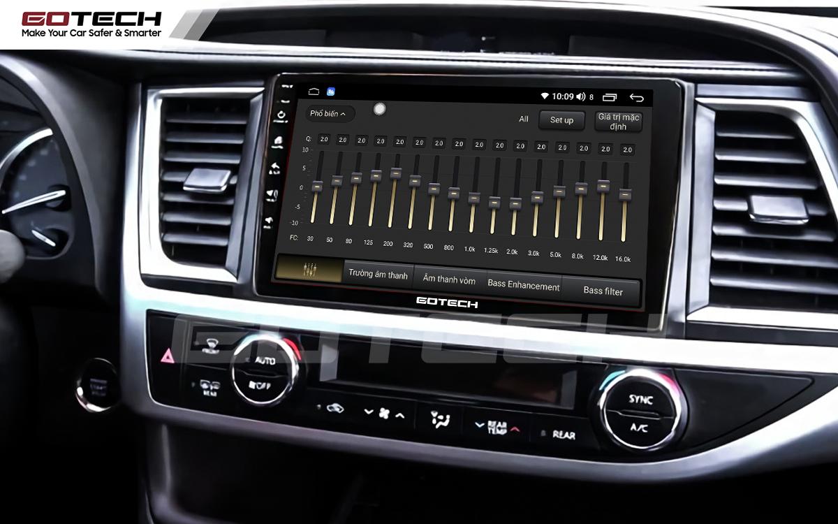 Bộ xử lý tín hiệu âm thanh DSP 32 kênh trên màn hình GOTECH cho xe Toyota Highlander 2015-2018