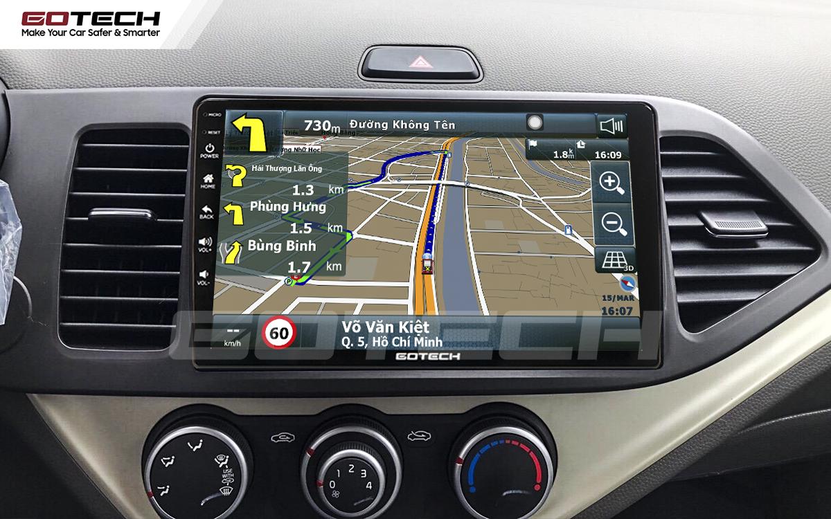 Các ứng dụng bản đồ dẫn đường thông minh trên màn hình ô tô GOTECH cho xe Kia Morning