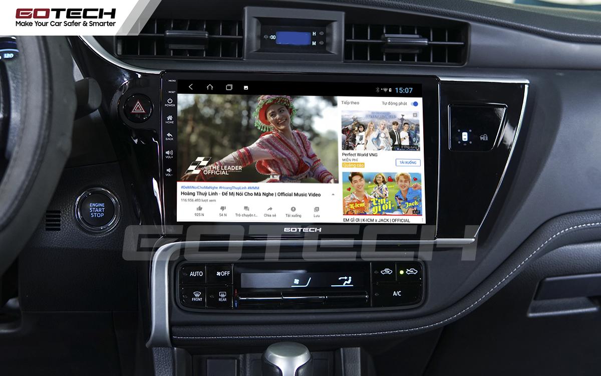 Các ứng dụng giải trí vô tận trên màn hình GOTECH cho xe Altis 2018 - 2019