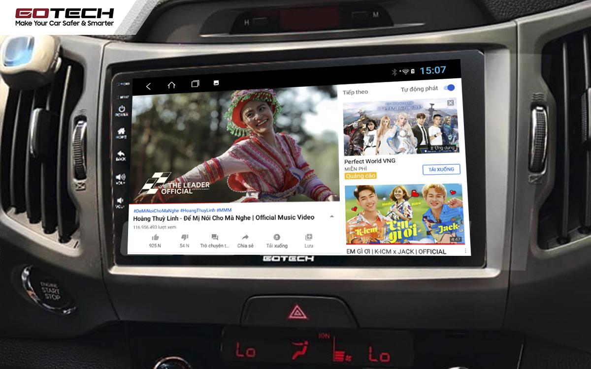 Các ứng dụng giải trí vô tận trên màn hình ô tô GOTECH cho xe Kia Sportage 2011 - 2014