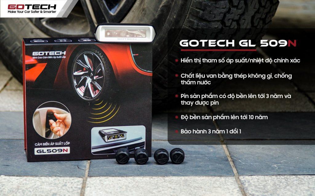 Cảm biến áp suất lốp GOTECH GL509N được thiết kế theo tiêu chuẩn mới, mang đến nhiều tiện ích nổi bật cho người dùng.