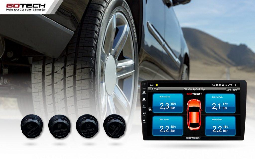 Cảm biến lốp GOTECH GL603N hiển thị đầy đủ thông tin nhiệt độ, áp suất 4 lốp với độ chính xác cao