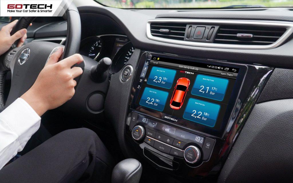 Cảm biến áp suất lốp GOTECH GL603N kết nối thông minh với màn hình Android ô tô.