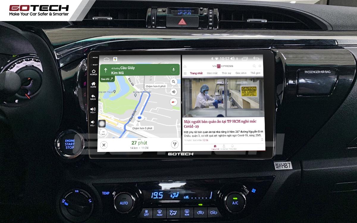 Chạy đa nhiệm ứng dụng trên màn hình dvd android Gotech cho xe Toyota Hilux.