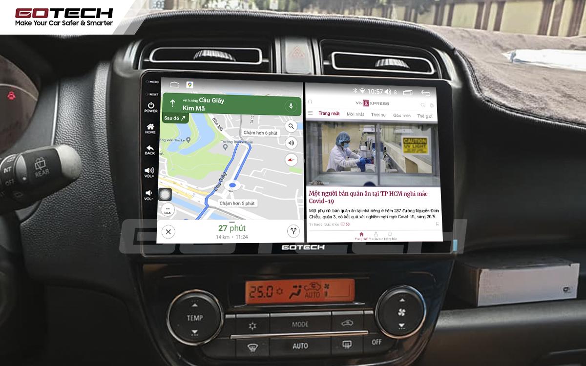 Chạy đa nhiệm ứng dụng trên màn hình dvd android Gotech cho xe Mitsubishi Mirage.