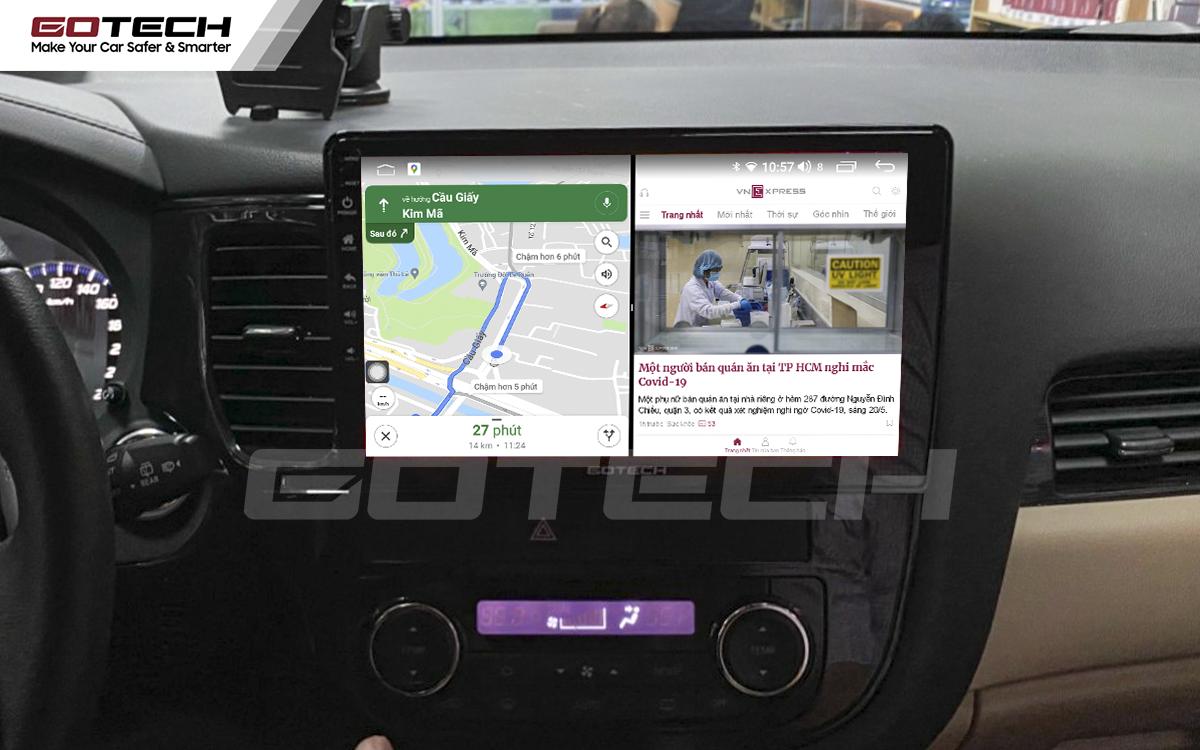 Chạy đa nhiệm ứng dụng trên màn hình ô tô Gotech cho xe Mitsubishi Outlander.